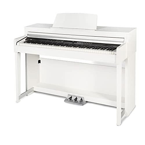 Fame DP-8600 WH Digital Piano matt weiß (Elektronisches Klavier mit Hammermechanik, 88 Tasten, 3 Pedale, Bluetooth-Funktion & Kopfhörer-Anschluss)
