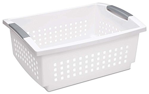 Sterilite 16648006 Large White Stacking Basket with Titanium Accents, 12-Pack