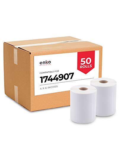 """enKo Dymo 4XL Labels 4 x 6"""" 1744907 Compatible for Dymo Labelwriter 4XL Shipping Label Thermal Printer (50 Rolls, 11,000 Labels)"""