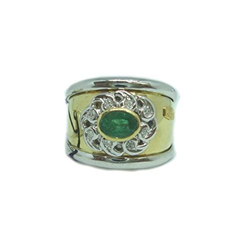 Recarlo XB357/0043 - Anillo para mujer de oro con diamantes y esmeralda