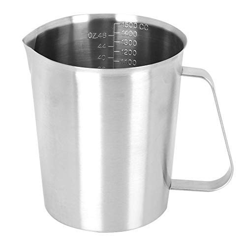 Fdit roestvrijstalen koffiemelk, opschuifbeker met weegschaal, voor café, restaurant, huishouden, 1500 ml