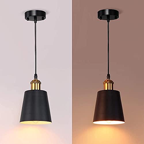 MantoLite Lámpara Colgante Vintage Con Pantalla de Metal Cilíndrica Lámpara Colgante Estilo Industrial Retro Moderno E27 Latón de Techo Cromado Negro (Bombilla No Incluida)