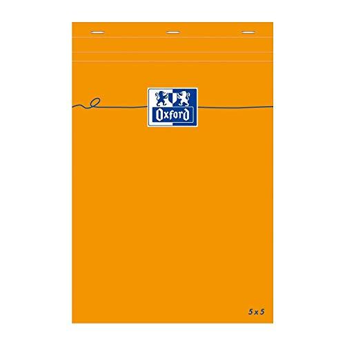 Oxford Notizblock, A5, kariert, 5 x 5, 80 Blatt, 80 g, Orange, 3 Stück