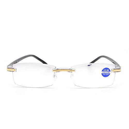 Reading glasses Gafas de Lectura Ultraligeras Portátiles Sin Marco, Gafas para Personas Mayores con Lentes de Resina de Alta Definición con Ajuste Fino de Luz Azul, Proteger la Vista de Las Gafas