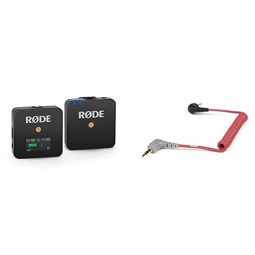 RØDE Wireless Go Compact Mikrofonsystem kabellos & Rode Anschlusskabel auf Handy (0,4 m, 3,5 mm Klinkenstecker) für VideoMic GO Smartphone/Tablet rot