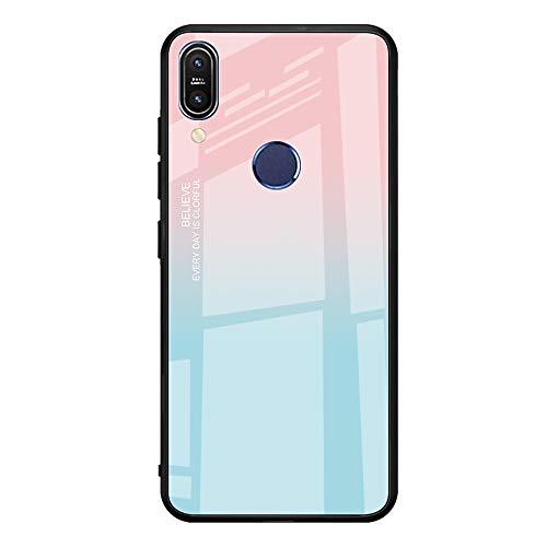 Caler Cubierta Trasera de Vidrio Templado, Funda Reemplazo para Xiaomi MI 6X A2 Borde de Estuche Silicona Suave y Marmol Cristal Anti-Golpes Anti-Arañazos Protección Cover Caso(Azul Polvo)