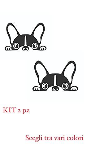 NewTeam Adesivo per Auto Cane - Bulldog Francese con Orecchie Grandi - Stickers Notebook, Auto, Muro, Casco, Moto, Camper. Kit 2 Pezzi (Nero)