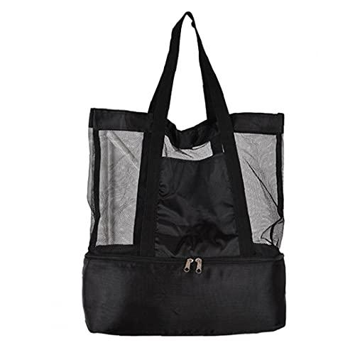 MICHAELA BLAKE Picknick-Tasche Strandtasche Netztasche mit Kühlschrank Kühlfach Reißverschluss Aufbewahrungstasche für Sommer-Reisen Schwarz