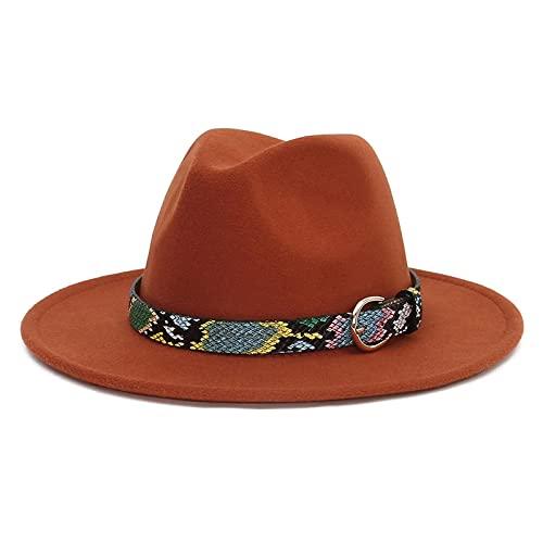 BUXIANGGAN Fedora Trilby Sombrero Fedora Hombres Mujeres Cinturn De Leopardo Sombreros De Fieltro Moda Negro Top Jazz Sombrero Fedoras 56-58Cm xido