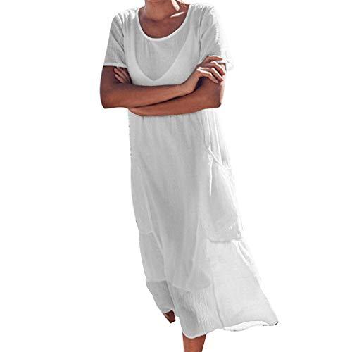 Lialbert Strandkleid Dame Leinenkleid Rundhals Kleid Maxikleider ÄRmeln T-Shirt-Kleid BüNdchen Sommerkleid Pailletten Frauen Swing-Kleid Skaterkleid Plissierter Weiß