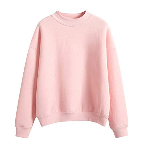 KIMODO Pullover Damen Langarm einfarbig lose Sweatshirt O-Hals Tumblr warme Winter Bluse Sweater Kawaii Korean Fashion Oberteile Tops (Rosa, M)