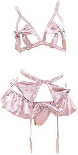 Sexy Damen-Bikini-Set mit Teddy-Dessous, mit Trägern, Anime, Lolita, Cosplay. - Pink - Einheitsgröße