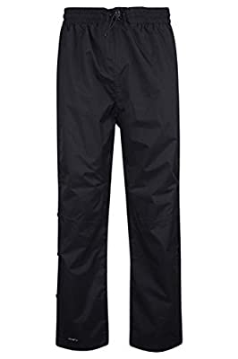 Mountain Warehouse Downpour Mens Waterproof Overtrousers - Breathable Rain Pants, Ripstop Black Medium
