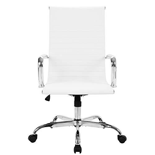 Back Office Chair White Leder Bürostuhl mit Rädern und Armlehnen ist ideal für Büro oder Home Studio White