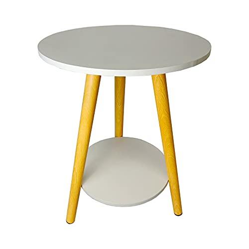 Mesa de café de madera, pequeña mesa redonda minimalista, decoración de doble capa, para mesa auxiliar auxiliar de mesa, soporte para flores, color blanco (39 x 39 x 51 cm)