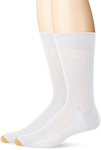 Gold Toe Men's Comfort Top Non-Elastic English Rib Crew Socks, 2 Pairs, White, Shoe Size: 12