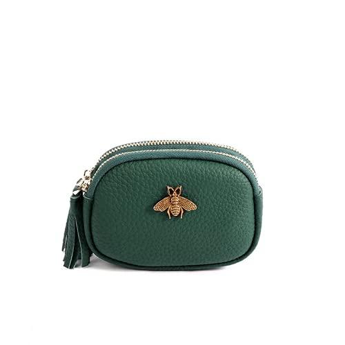 Monedero de cuero genuino para mujer, monedero de doble cremallera, bolsa de cambio de abeja de gran capcacity tarjeta titular monedero bolso