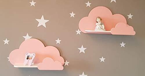Juego de 2 estantes de pared Happy Woody Cloud para guardería/estante flotante de madera/decoración de habitación de bebé/habitación de cuarto de niños/decoración de pared/juego de regalo (rosa)