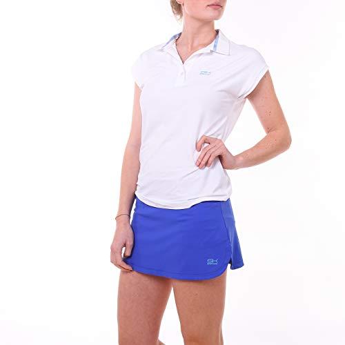 Sportkind Mädchen & Damen Tennis, Golf, Funktions Poloshirt Loose Fit, UV-Schutz UPF 50+, atmungsaktiv, weiß, Gr. 164