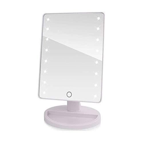 Espejo Maquillarse Espejos De Maquillaje LED De La Pantalla Táctil del Profesional Espejo De Baño con 16 Luces LED Belleza Salud Encimera Ajustable 180 Rotating