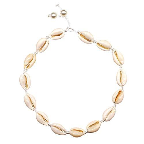 Natürliche Muschel & Perlen handgefertigt Hawaii Wakiki Tropical Beach Choker, hawaiianischen Stil Puka Chip Muscheln Halskette für Mädchen Damen Beach Parties, Hawaii Tropical, Pool, Bankett Parteien