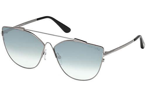 Tom Ford FT0563 Jacquelyn-02 zonnebril, zilverkleurig/grijs, met blauwe glazen, 64 mm, 14 x FT563 FT0563