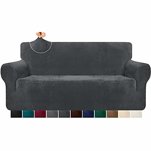 Granbest 1 Stück Hoch-Stretch-Samt-Sofabezug für 3-Sitzer-Couch, luxuriöser, dicker Plüsch-Couch-Bezug, passgenauer Sofa-Schonbezug, waschbarer Möbelschutz mit Anti-Rutsch-Stick (3-Sitzer, grau)