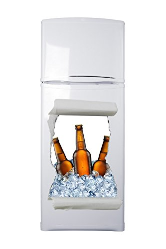 Pegatinas 3D Vinilo para Frigorífico Hueco Cerveza Varias Medidas 60x88cm | Adhesivo Resistente y de Facil Aplicación | Pegatina Adhesiva Decorativa de Diseño Elegante