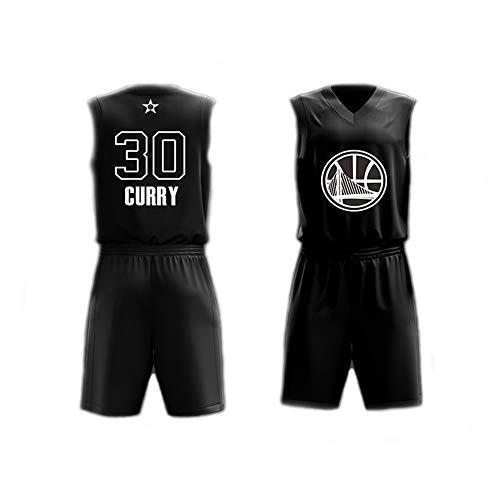 Dear, you Herren Basketball Trikot Set Top+Shorts,Stephen Curry # 30 NBA All Star,Neues Gewebe Klassisches Sporttrikot Ärmelloses T-Shirt Fans Hemden,Schwarz,3XL