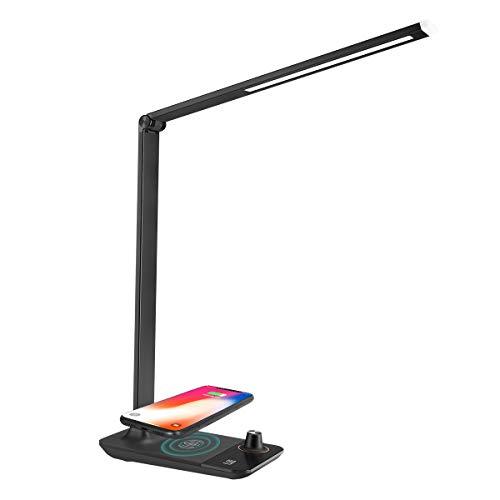 LE tafellamp met draadloze oplader voor iPhone Samsung 9W, LED-helderheid traploos en 3 kleurtemperaturen dimbare bureaulamp, bedlampje en USB-oplaadaansluiting ingebouwd, zwart