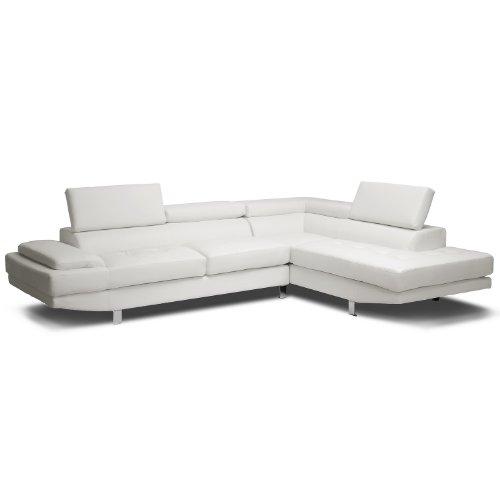 Baxton Studio Selma Leather Modern Sectional Sofa, 119.75L x 89.5W x 28.5H, White