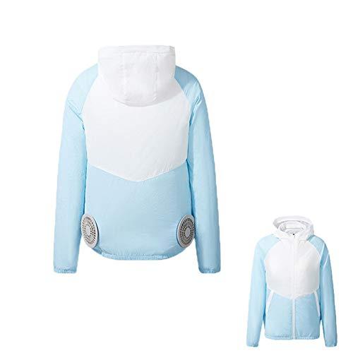 MNSSRN-MM Sommer Anti-Hitzschlag Kühlung Klimaanlage Kleidung, USB-Ladeaußensonnenschutz Kühlung Thin and Light Smart Fan-Jacke Overalls,Blau,XL