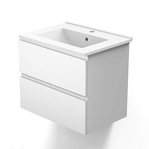 Aica Sanitär Badmöbel Set 60 cm Aalst Vormontieren Keramikbecken mit Unterschrank Waschtisch Weiß