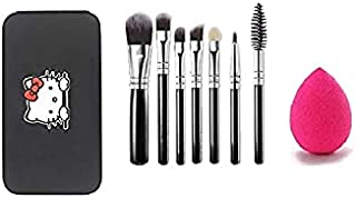 Miss & Mam Makeup Brush Set of 7(Colour May Vary) with Storage box + sponge puff(Colour May Vary)