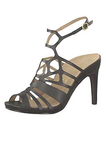 Tamaris 1-28317-22 003 Damen Black Leather Schwarz Sandaletten High Heeled Strappy Sandale Heart & Sole, Groesse:37