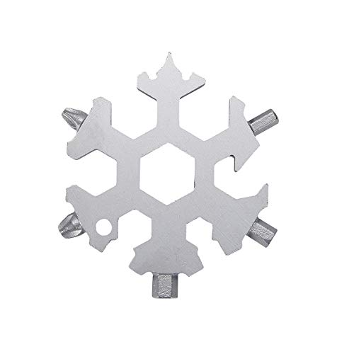ZS Juyi Multi Tool Bike Outdoor Travel Camping Adventure Daily Tool Snowboarding Multi Tool Spanner Stainless Steel Snowflakes Screwdriver Tool Silver