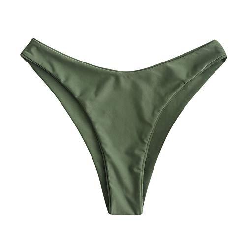 ZAFUL Women Braided Straps Lace Up Bikini Set Bralette Swimsuit Flower Bathing Suit (Camouflage Green Bottom, L)