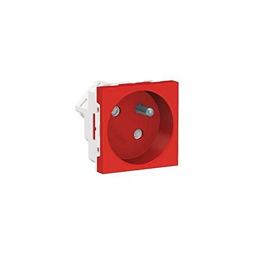Unica - Toma 2P + T - FR - 45° - Conexión rápida travesante, color rojo