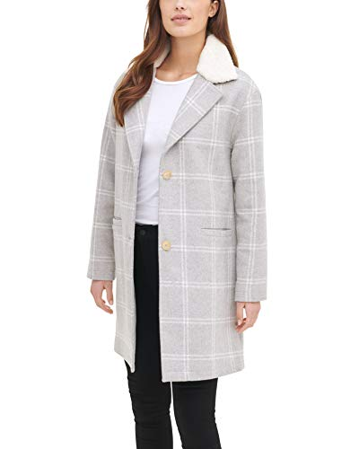 Levi's Women's Wool Plaid Sherpa Collar Top Coat, Grey Plaid, Small