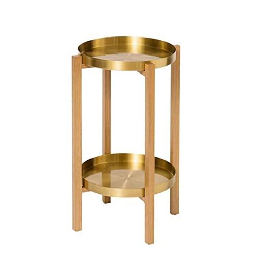 JCNFA Tavolini da caffè Tavolino in metallo con vassoio in rame puro a 2 livelli,Tavolino da caffè per interni ed esterni Accent,Tavolo da pranzo snack,Noce/(Size:11.17*11.17*21.45in,Color:wood color)