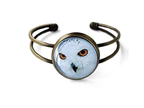 Pulsera de búho nevado, brazalete de búho blanco, brazalete de bronce antiguo, joyería de animales, pulsera de pájaro, pulsera de cúpula de cristal