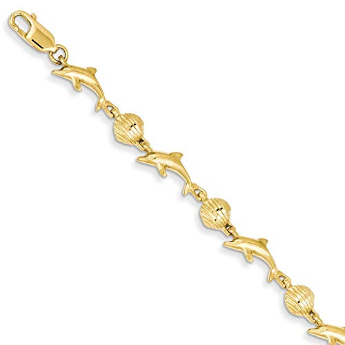 14k Yellow Gold Dolphin Sea Shell Mermaid Nautical Jewelry Bracelet 7 Inch Seashore Fine Jewelry For Women Gifts For Her