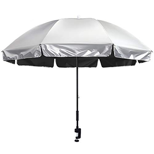 G4Free Universal Clamp On Umbrella Adjustable Outdoor UV Protection Beach Chair Umbrella 56inch, Great for Strollers, Wheelchairs, Patio Chairs, Beach Chairs, and Golf Carts (Silver/Black)