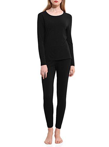 DAVID ARCHY Women's Modal Stretch Seamless Top & Bottom Thermal Underwear Set (Black, XL)