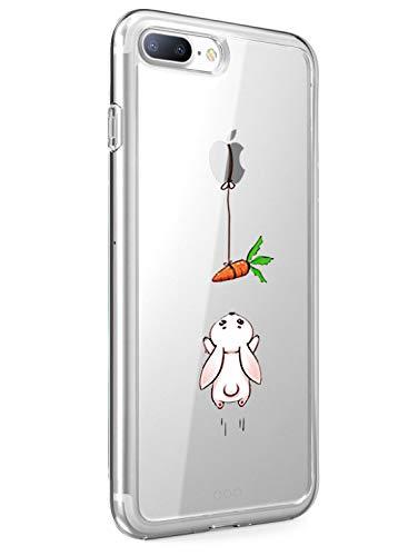 Alsoar Compatibile per Cover iPhone 7 Ultra Slim Custodia iPhone 7 Silicone Cute Animals Modello Cartoon Design Soft Trasparente TPU Case Anti-graffio Antiscivolo Cover (Coniglio)