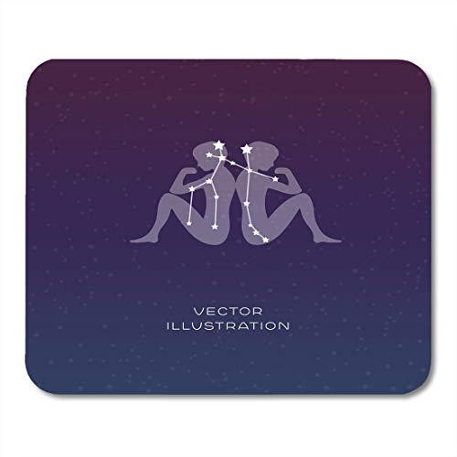 Alfombrillas de ratón Astrología Astrología negra Signo de la constelación del zodiaco Géminis con silueta Astronomía abstracta azul Alfombrilla para portátiles, computadoras de escritorio Suministros