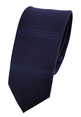 ohne Markenname schmale Krawatte in royal blau uni bordürenmuster - Krawatte Binder Tie