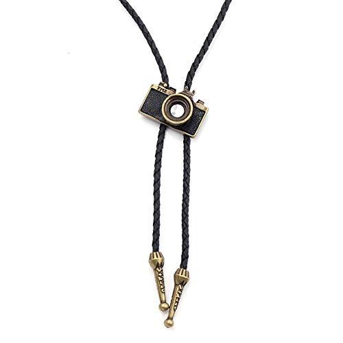 VFDGB Collar Colgante De Forma De Cámara Gargantilla De Cuerda Trenzada Negra Larga Collar De Joyería Suéter Punk Vintage