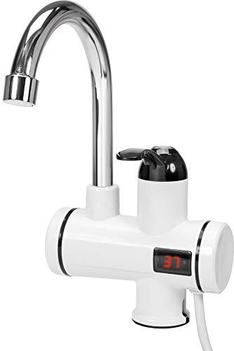 FALA Wasserhahn mit Durchlauferhitzer und LED-Anzeige, 3 KW (3000 Watt), 220 Volt, 360° drehbar, mit hochwertiger Keramik-Kartusche, elektrische Armatur für Badezimmer, Waschraum, Küche, Campingplatz