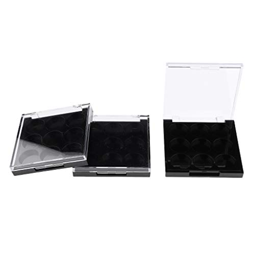 Fenteer 3x Portable Palette de Maquillage Magnétique Vide de Avec 9 Fentes pour Poudre Compact Fard à Paupières Blush Rouge à Lèvres DIY - Fentes rondes